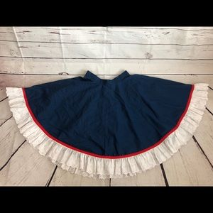Vintage Navy Blue Western Circle Skirt Ruffle Trim
